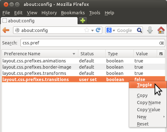 [image showing about:config in Firefox, with a search for 'css.prefixes']