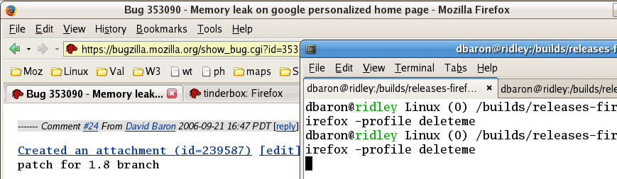 [Screenshot of tabs in Firefox and GNOME Terminal, with the new Firefox theme]