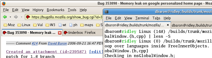 [Screenshot of tabs in Firefox and GNOME Terminal, with the old Firefox theme]